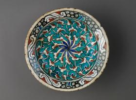 Dish with arabesque design