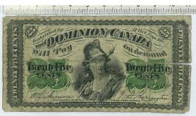 Dominion Note, 25 cent fractional currency or Shinplaster