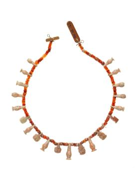 Carnelian necklace with faience amulets of Hathor heads and poppy-seed capsules
