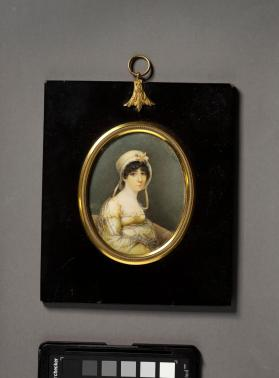 Portrait miniature of a woman in bonnet