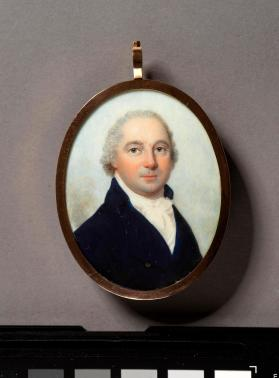 Portrait miniature of man in a blue jacket