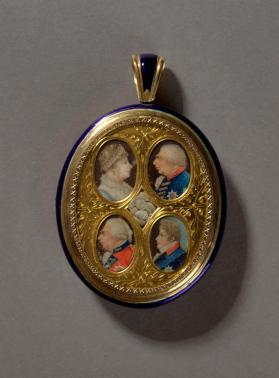 Locket with four royal  portrait miniatures depicting George III (1738-1820, reigned 1760-1820) and his family