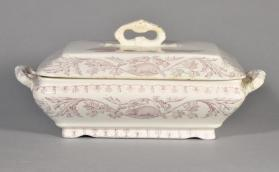 "Covered vegetable dish in ""Quebec"" pattern with scene ""Cape Diamond"""
