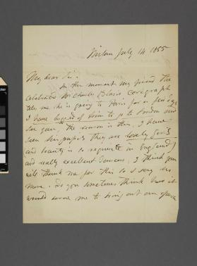 Autograph letter to Frederick Gye from Michael William Balfe