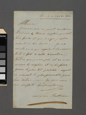 Autograph letter to unidentified gentleman from Ludwig van Beethoven