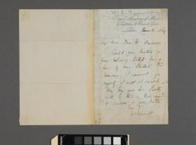 Autograph letter to M. Davidson from Sir William Sterndale Bennett