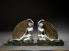 Pair of fan dancer bookends