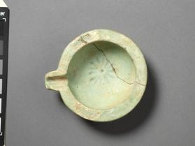 Lamp, or small spouted bowl with rosette motif