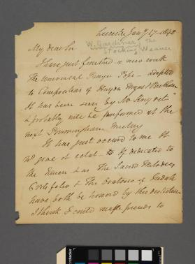 Autograph letter to an unidentified gentleman from William Gardiner