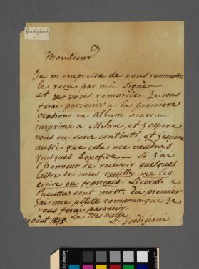 Autograph letter to Christopher Lonsdale from Luigi Gordigiani