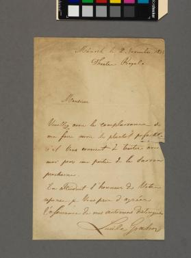 Autograph letter to an unidentified gentleman from Lucile Grahn