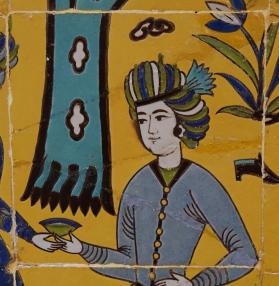 Tile from frieze for archway with picnic scene