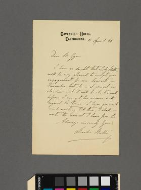 Autograph letter to Frederick Gye from Sir Charles Halle