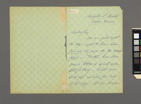 Autograph letter to Robert Lonsdale from John Liptrot Hatton