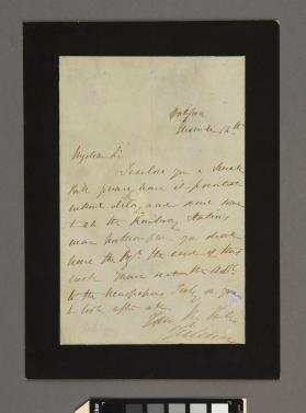 Autograph letter to an unidentified gentleman from Louis Jullien