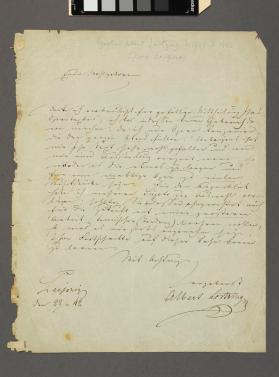Autograph letter to an unknown author and composer of a vaudeville by Gustav Albert Lortzing