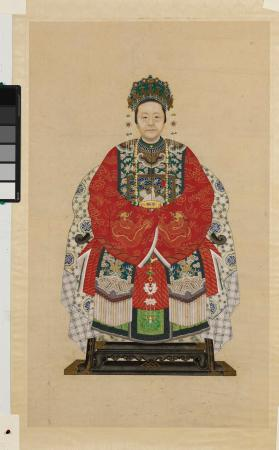 Ancestor Portraits of a Woman - part of a pair, husband and wife 祖先像(夫婦)