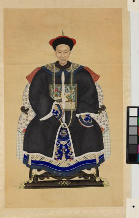 Ancestor Portraits of a Man - part of a pair, husband and wife 祖先像(夫婦)