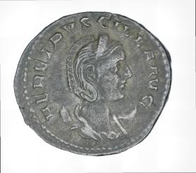Antoninianus of Etruscilla with reverse of Pudicita enthroned holding a sceptre