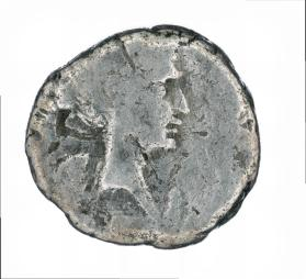 Quinarius of M. Antonius, with bust of Victory; reverse side with lion walking