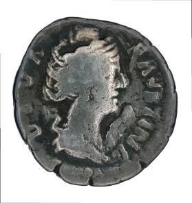 Denarius of a deified Faustina I, reverse of a columned temple
