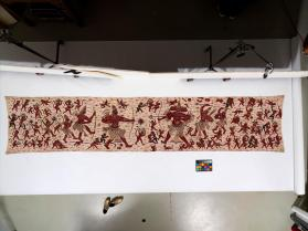 Ceremonial textile with battle scene from the Indian epic poem the Ramayana