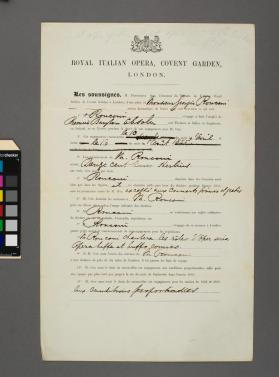 Contract between the Royal Italian Opera and Giorgio Ronconi