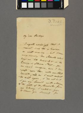 "Autograph letter to ""My dear Bishop' from Ferdinand Ries"