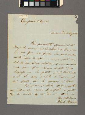 Autograph letter to an unidentified gentleman from Carlo Romani
