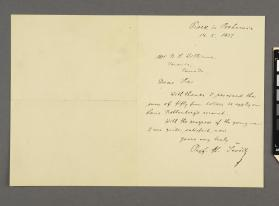 Autograph letter to R. S. Williams from Professor Otakar Sevcik