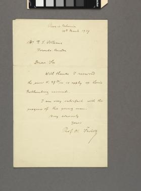 Autograph letter to R. S. Williams from Prof. Otakar Sevcik