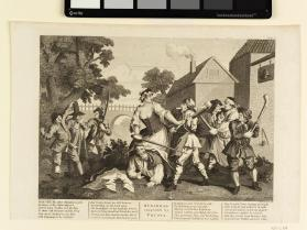 Hudibras Vanquish'd by Trussa, Plate V (After Hogarth)
