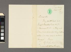 Autograph letter to an unidentified gentleman from Sir Frederick A. Gore Ouseley