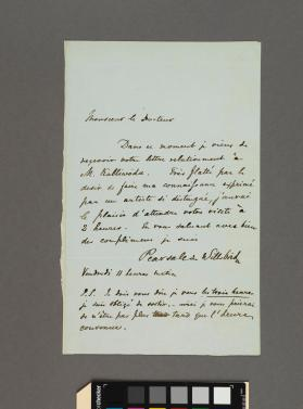 Autograph letter to a Doctor from Robert Lucas Pearsall