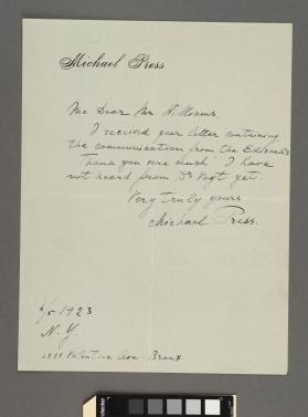 Autograph letter to a Mr. Williams from Michael Press