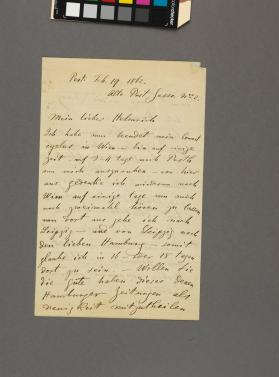 Autograph letter to Mr. Helmrich from Eduard Remenyi