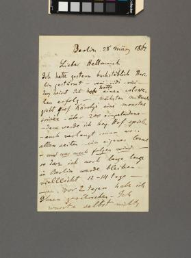 Autograph letter to Mr. Hellmrich from Eduard Remenyi