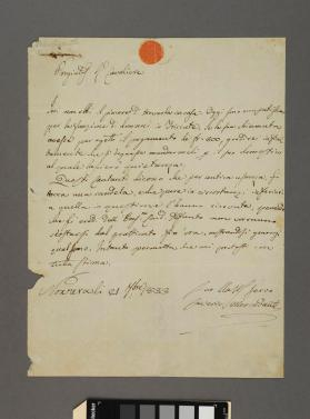 Autograph letter to Cavaliere Grenate from Saverio Mercadante