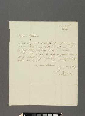 Autograph letter to Mrs. Segren Andibot from Ignaz Moscheles