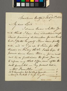 Autograph letter to an unidentified Lord from Sir Gore Ouseley