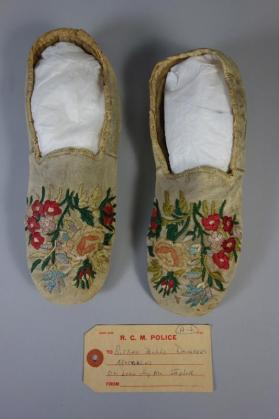 Moccasins said to have been worn by one of Sitting Bull's daughters