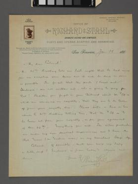 Autograph letter to a Colonel from Richard Stahl