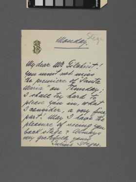 Autograph letter to a Mr. Gildhreist (?) from Julius Steger