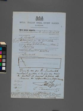 Autograph contract between Royal Italian Opera in London and Enrico Tamberlick