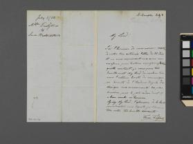 Autograph letter to Lord Westmorland from Therese Tietjens