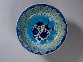 Dish with blue and white floral design