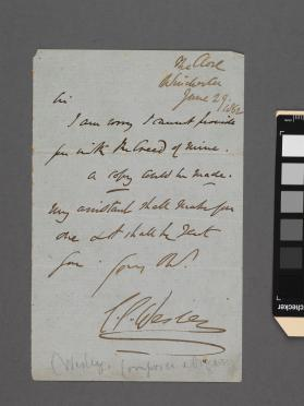 Autograph letter to an unidentified gentleman from Dr. Samuel Sebastian Wesley