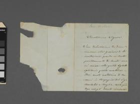Autograph letter to an unidentified gentleman from Camillo Sivori