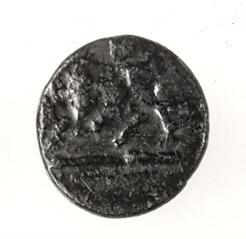 Chalkous coin with a butting bull, phi on reverse side