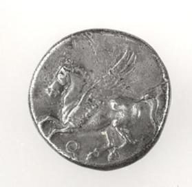 Stater with flying Pegasos, Athena wearing a Corinthian helmet on reverse side